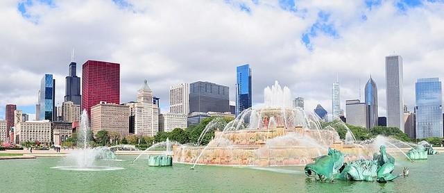 Chicago Skyline Panorama Wall Mural Self Adhesive Wallpaper