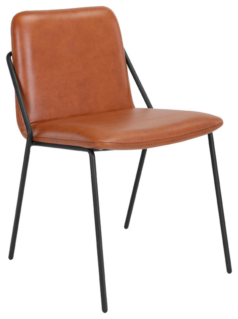 upholstered leather sling chair brown chairs