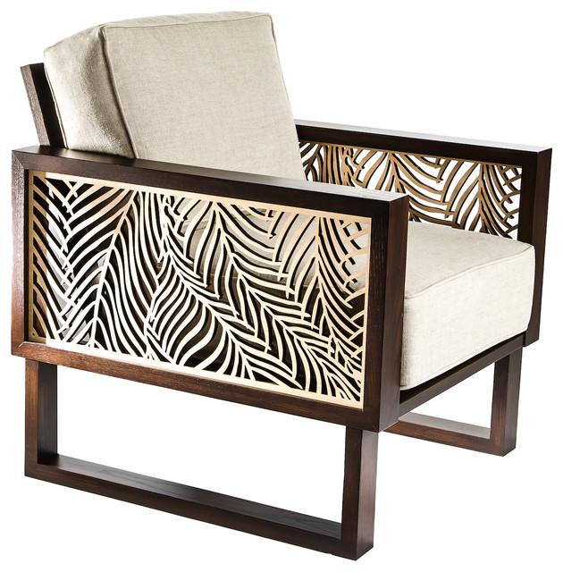 Twist Modern Wispy Palm Lounge Chair Tropical