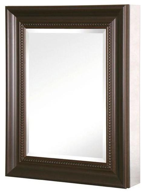 Recessed or Surface Mount Mirrored Medicine Cabinet With Framed Door, Espresso - Medicine ...