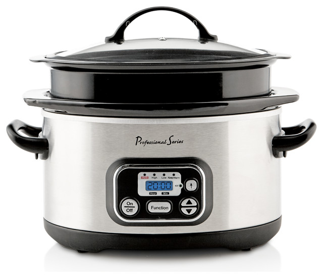 Digital Slow Cooker, 4 And 6 Qt. Expandable Capacity, Stainless Steel.