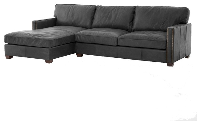 Collins Vintage Black Leather Left Arm Facing Sectional Sofa With Chaise