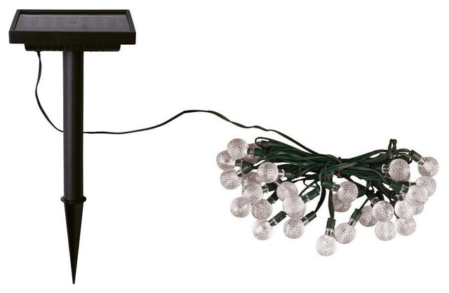 Smart Solar 23&x27; White Solar String Lights With 30 Crystal Balls Led Lights.