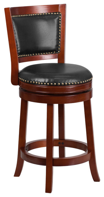 Harley Leather Swivel Counter Stool Cherry And Walnut