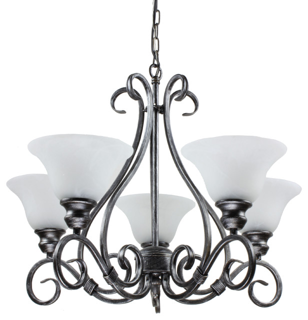 5 Light Classic Black Iron Dining Living Room Hanging  : traditional chandeliers from www.houzz.com size 616 x 640 jpeg 69kB