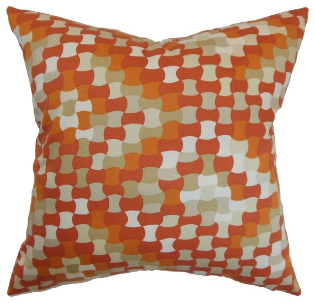 "Gaya Geometric Pillow, Tangerine, 18""x18""."