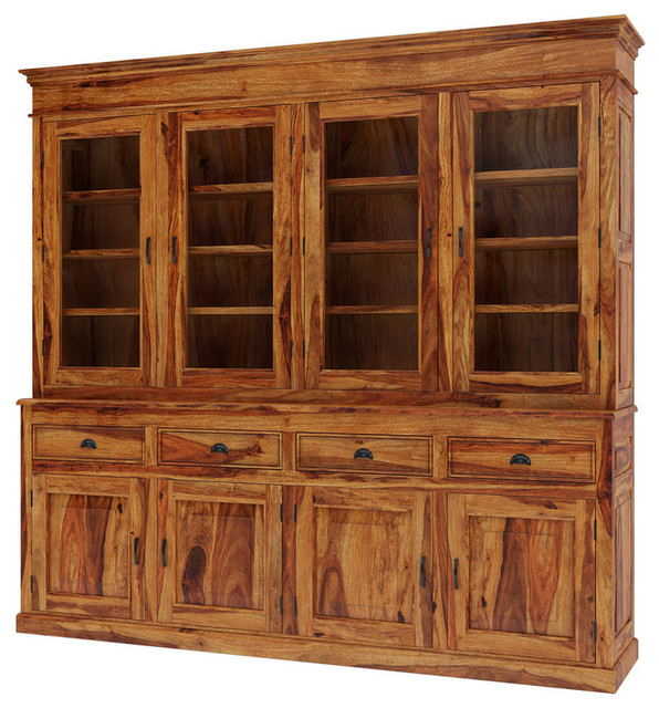 Oak Dining Room Hutch: Cariboo Contemporary Rustic Solid Wood Dining Room Large