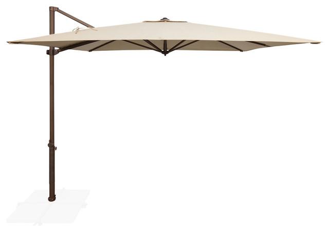 Skye 8.6&x27; Bronze Square Cantilever, Inifnite Tilt, Beige, Sunbrella Fabric.