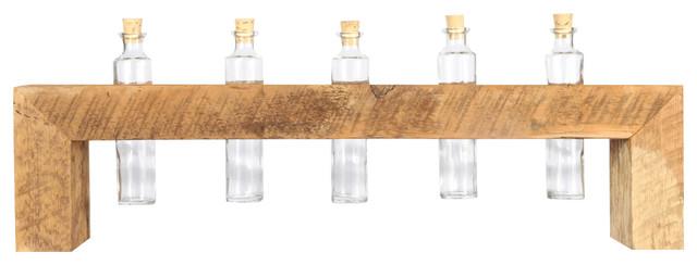 Glass Bud Vase Arrangement With Reclaimed Wood Holder, 5 Bottles
