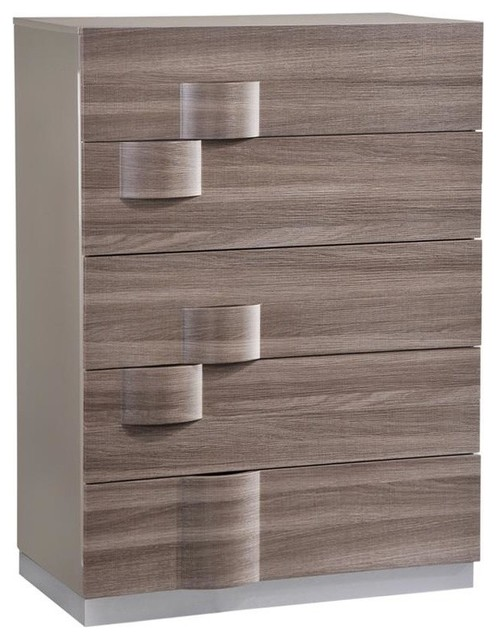 Global Furniture Adel 5 Drawer Chest High Gloss Gray