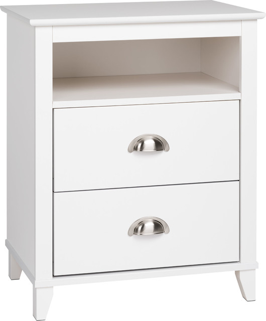 2-Drawer Tall Nightstand, White Finish.
