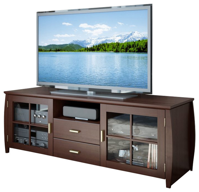 Sonax Washington Espresso TV Bench in Espresso Stained Real Wood Finish - Entertainment Centers ...