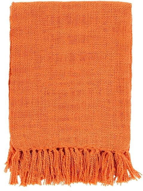 "Solid/striped Tilda Throw, Rectangle, Orange, 59""x51""."