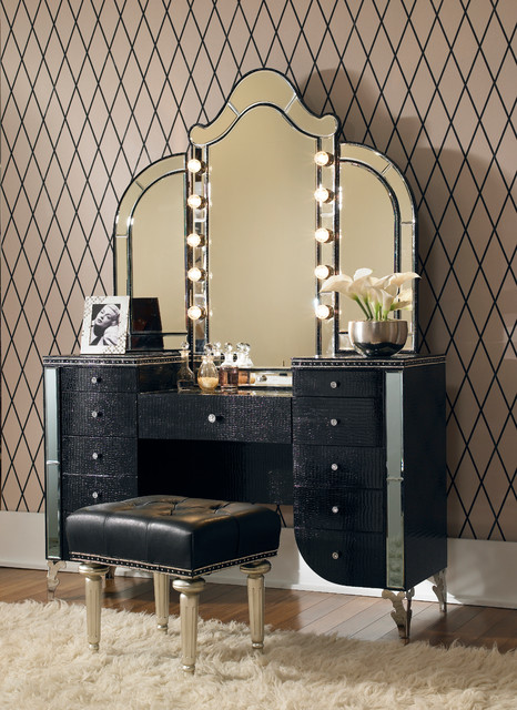 Hollywood Swank 3 Piece Vanity Set in Black - Traditional ...