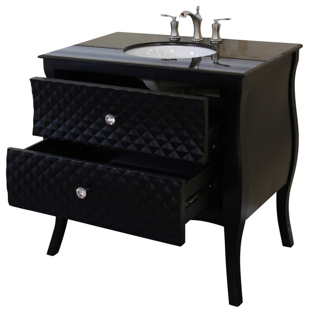 35 4 Inch Single Sink Vanity Wood Black White Phoenix Stone Top Contemporary Bathroom Vanities And Sink Consoles By Corbel Universe Houzz