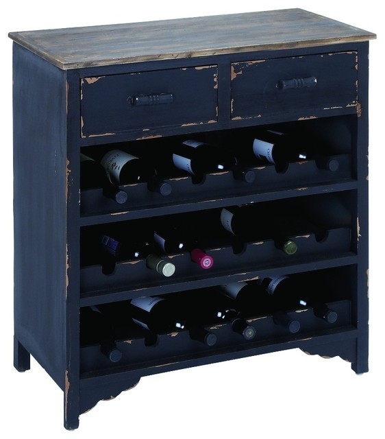 18-Bottle Wine Cabinet, Black rustic-wine-and-bar-cabinets