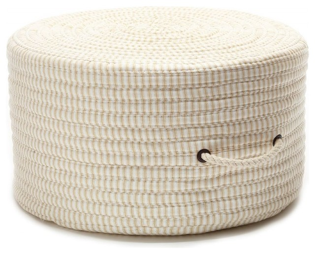 "Braided Ticking Fabric Stripe Pouf Pouf/ottoman, Canvas, Round 20""."
