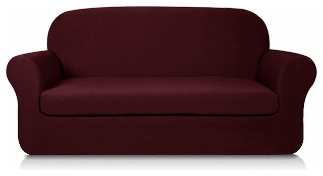 Subrtex 2-Piece Knit Jacquard Spandex Stretch Sofa Slipcover