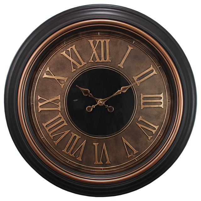 Oversized 23 Wall Clock With Raised Roman Numerals In Antique Copper Finish