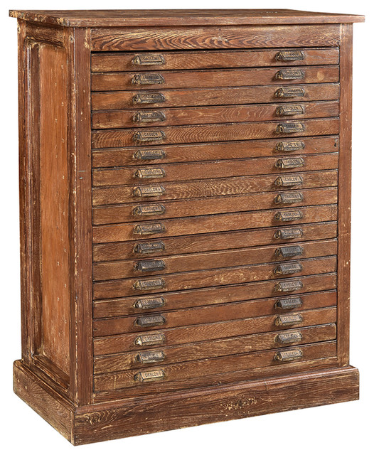 Consigned Teak Map Chest Farmhouse