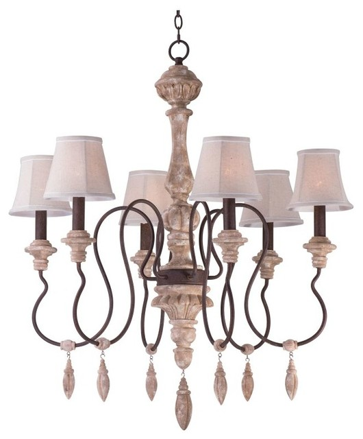 Maxim Lighting 39607SW/SHD396 Olde World 6 Light Chandelier, Senora Wood