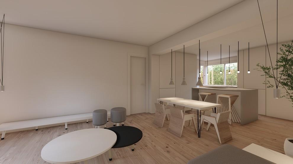 Vista general del espacio de salón y cocina