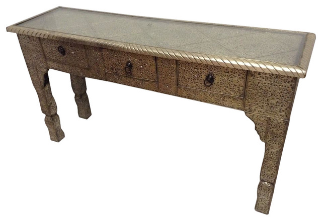 Moroccan Console Table Silver Mediterranean Console Tables By