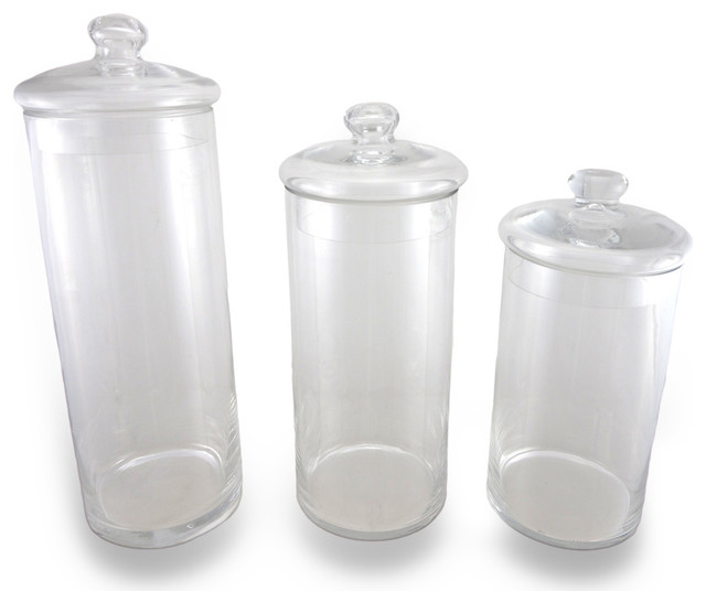 Decorative glass apothecary jars 3 piece set for Bathroom accessories jars