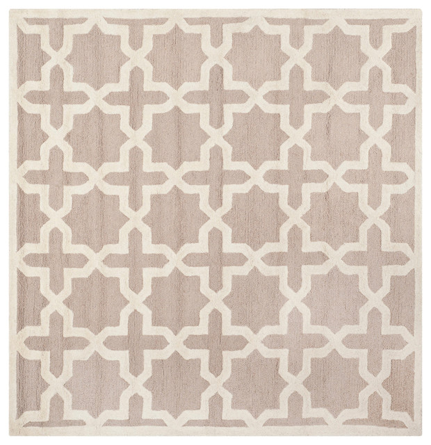 "Safavieh Kayden Hand Tufted Rug, Beige And Ivory, 120""x120"" Square."