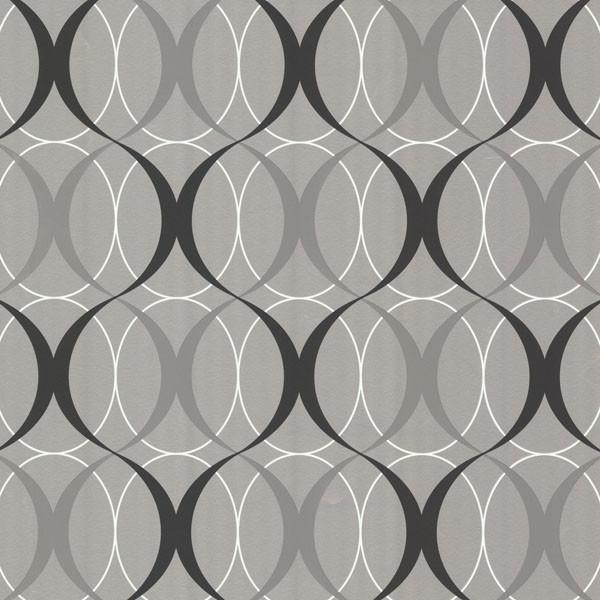 Circulate Silver Retro Orb Wallpaper, Bolt. -1