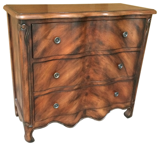 """Stephens Three Drawer Chest Brown Faux Tiger Wood Finish 33 1/2"""" - Traditional - Accent Chests ..."""