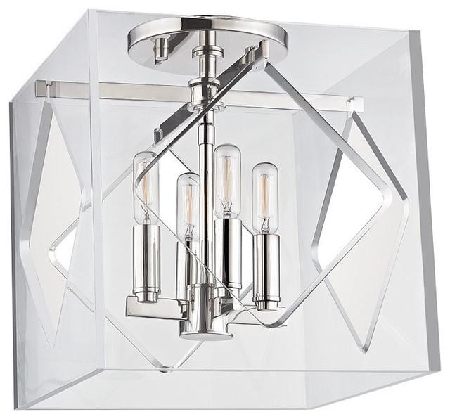 Travis 4-Light Flush Mount Acrylic Shade, Polished Nickel.