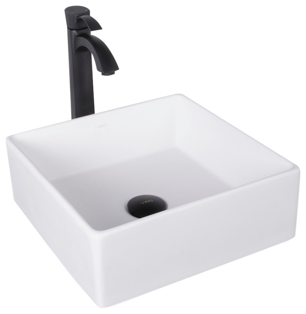 Vigo Dianthus Matte Stone Vessel Sink And Otis Bathroom Faucet, Matte Black.