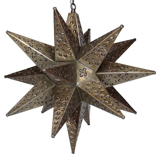 Moravian Star Light, Flower Pierced Tin, Bronze, 20