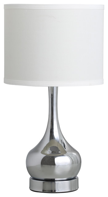 "18.75""In Corrine Polished Silver Mid Century Table Lamp"