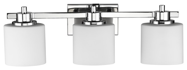 Solbi 3-Light Chrome Finish Bath Vanity Wall Fixture White Alabaster Glass 24""