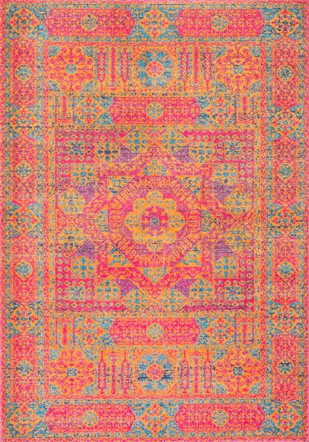 "Aku Traditional Floral Medallion Area Rug, Orange, 5&x27;x7&x27;5""."