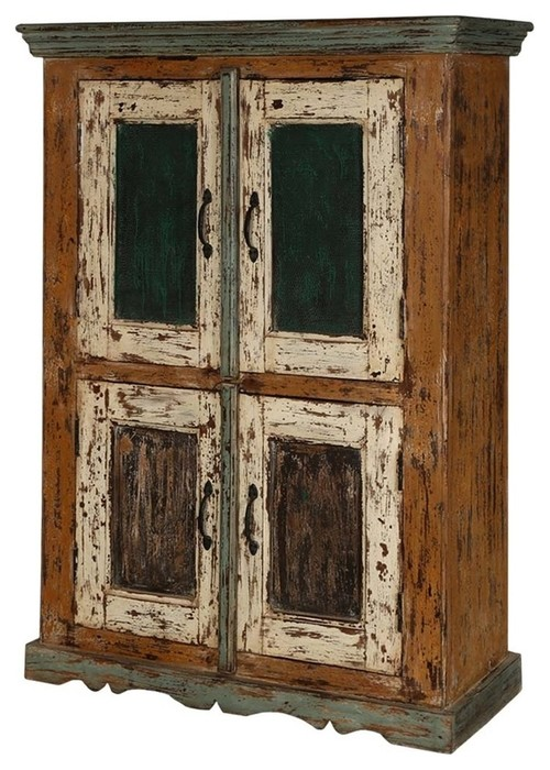 Lena Distressed Reclaimed Wood Handcrafted Double Door Storage Cabinet
