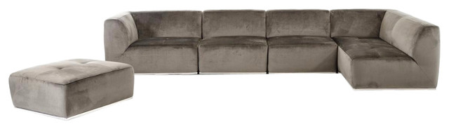 Divani Casa Hawthorn Modern Grey Fabric Sectional Sofa And Ottoman.