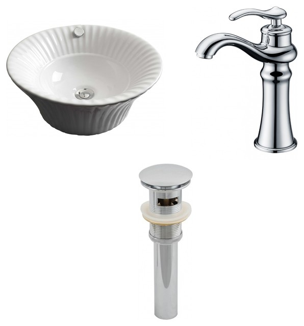 "17""x17"" Above Counter Round Vessel Set, White Color, Faucet 1779."