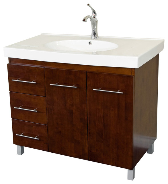 39 in. Single Sink Vanity w Left Drawers in Walnut - Contemporary - Bathroom Vanities And Sink ...