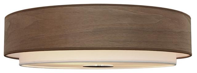 4-Light Flush Mount With Wood Shade, Walnut.