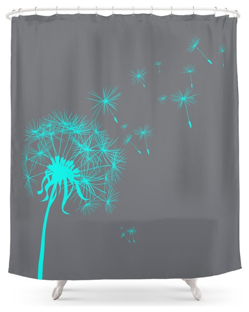 Gray And Teal Dandelion Shower Curtain Contemporary