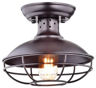 Industrial Vintage Semi Flush Mount Metal Cage Pendant Ceiling Light   Beach  Style   Flush Mount Ceiling Lighting   By Light Go