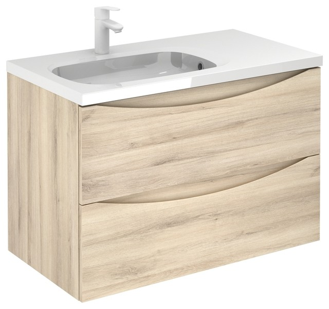 Love Modern Floating Bath Vanity 36 Inches Nature 2 Drawer With Basin Contemporary Bathroom Vanities And Sink Consoles By Bath4life Houzz