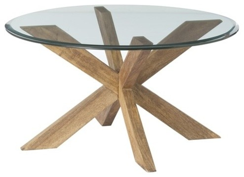 Marvelous ROUND GLASS TOP COFFEE TABLE WITH WOOD BASE. Gwenieve Cocktail Table By  Arteriors Home Transitional Coffee Tables
