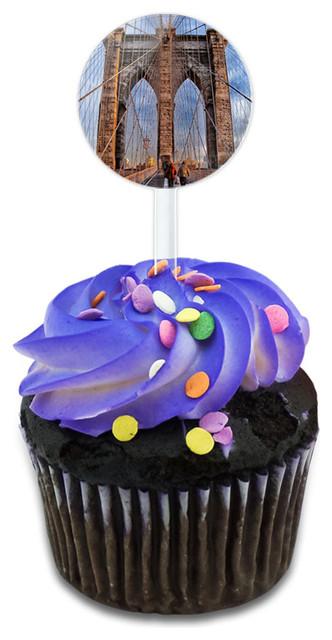 Brooklyn Bridge New York Cupcake Toppers Picks Set.