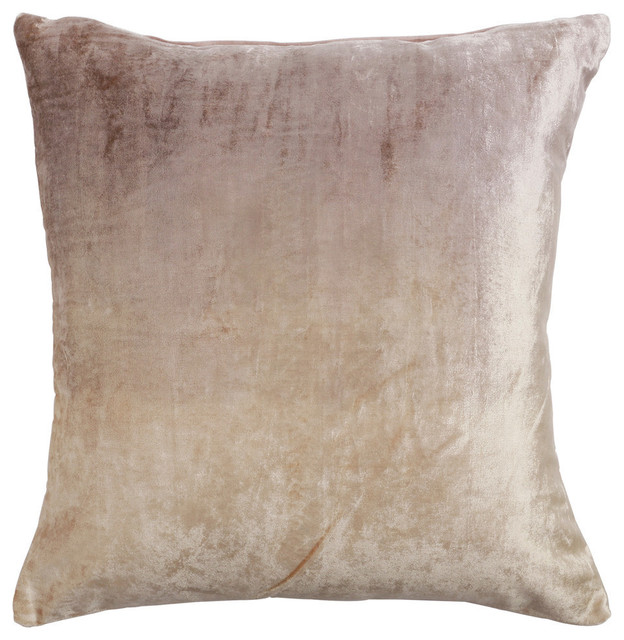 Ombre Velvet Pillow Cover, Beige.