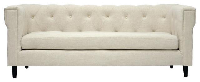 Baxton Studio Cortland Beige Linen Modern Chesterfield Sofa.