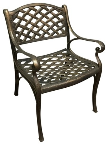 Cast Aluminum Dining Chairs Set Of 2 Bronze Traditional Outdoor Dining